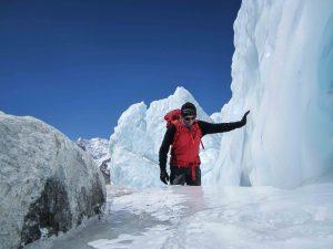 A shiny path of ice