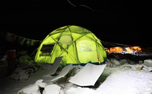 Mike Horn and Fred Roux's mess tent at Makalu Advanced base camp